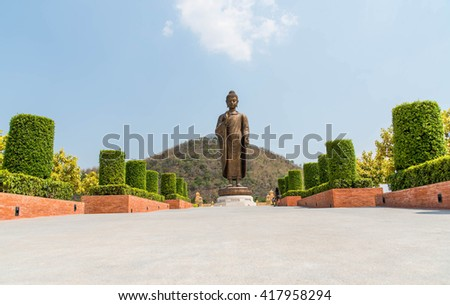 Statues of Buddha at Wat Thipsukhontharam,Kanchanaburi province,Thailand,Phra Buddha Metta,They are public domain or treasure of Buddhism, no restrict in copy or use - stock photo