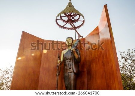 Statues of Buddhist monk in Thailand - stock photo