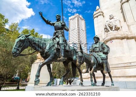 Statues of Don Quixote and Sancho Panza at the Plaza de Espana in Madrid, Spain - stock photo