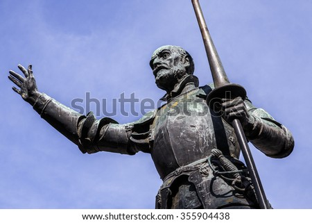 Statues of Don Quixote and Sancho Panza at the Plaza de Espana in Madrid, Spain Detail of Don Quixote - stock photo