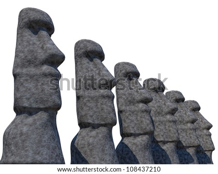 statues of Easter Island on a white background