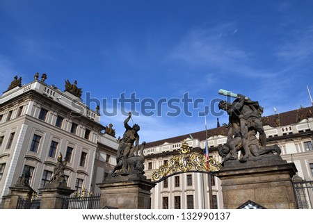 Statues of fighters in front of the Prague Castle