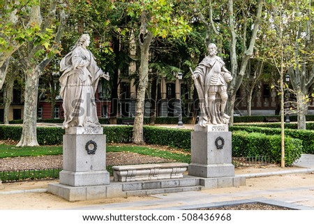 Statues of Gothic kings (1750 - 1753) in Plaza de Oriente near Royal Palace. Statues depict Roman, Visigoth and Christian rulers. Madrid, Spain.