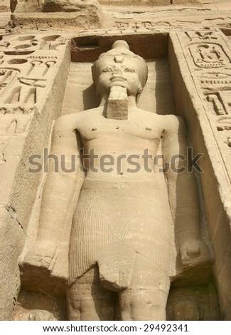 Statues of Nefertari as goddess Hathor - stock photo