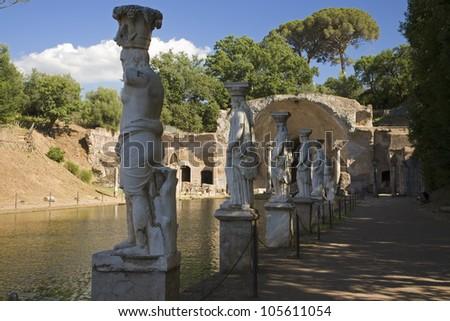 Statues of the Caryatides in the Canopus at Hadrian's Villa, Tivoli near Rome, Italy, Europe - stock photo