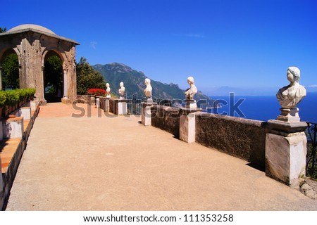 Statues of The Terrace of Infinity above the Amalfi Coast, Ravello, Italy - stock photo