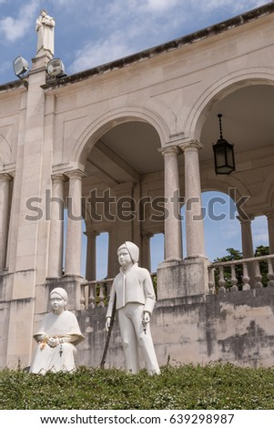 Statues of Two Children who Had the Vision of the Virgin Mary in Fatima Portugal
