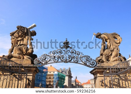 Statues on Prague Castle with blue Sky