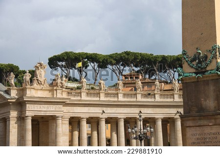 Statues on the Colonnade of St. Peter's Basilica. Vatican City, Rome, Italy - stock photo