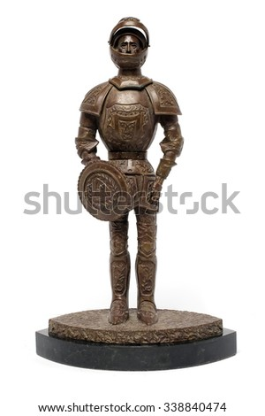 statuette knight on a stand - stock photo