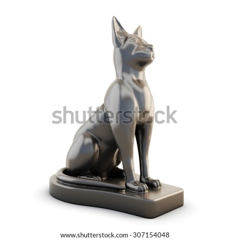 Statuette of a cat isolated on white background. 3d. - stock photo