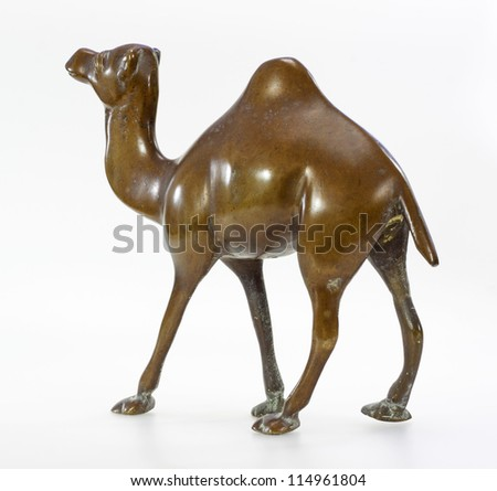 Statuette of camel made of bronze on white