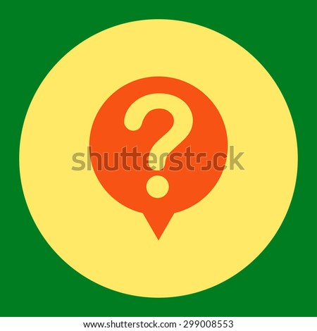 Status icon from Primitive Round Buttons OverColor Set. This round flat button is drawn with orange and yellow colors on a green background.