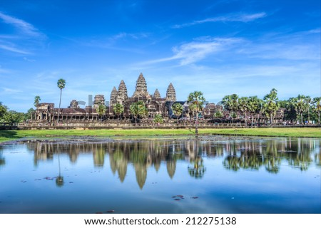 Status of Angkor Wat in sunset, the best time in the evening at Siem Reap, Cambodia - stock photo