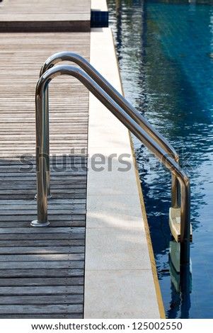 Status of swimming pool and stair - stock photo