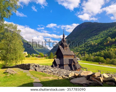 Stave church (wooden church) of Borgund. Sognefjord, Norway - stock photo