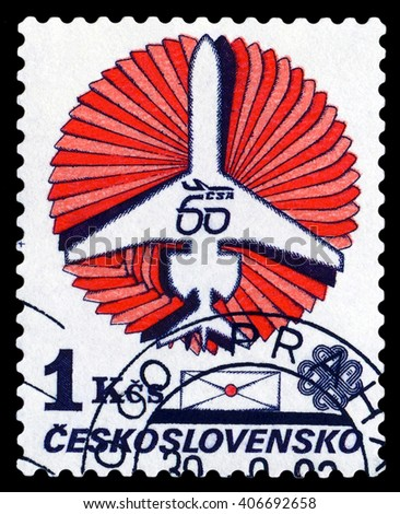 STAVROPOL, RUSSIA - APRIL 06, 2016: a stamp printed  by  Czechoslovakia  shows  Concept  plane, payment airmail, circa 1983 - stock photo