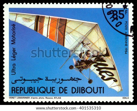 STAVROPOL, RUSSIA - APRIL 05, 2016: a stamp printed by Djibouti  shows manned flight on Motorized Hang Glider, circa 1984 - stock photo