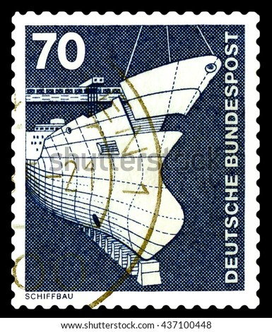 STAVROPOL, RUSSIA - APRIL 04, 2016: a stamp printed by  Germany , shows Shipbuilding, series Industry and Technology,  circa 1975 - stock photo