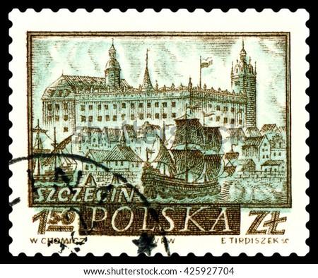 STAVROPOL, RUSSIA - APRIL 28, 2016: a stamp printed by Poland shows  Szczecin, circa 1960 - stock photo