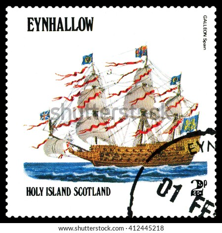 STAVROPOL, RUSSIA - APRIL 09, 2016: a stamp printed by Scotland, shows  old Sailing ship  Galleon Spain,  circa 1984 . - stock photo