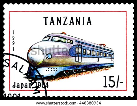 STAVROPOL, RUSSIA - APRIL 03, 2016: A Stamp printed in Tanzania shows  old locomotive,  Japan 1964,  circa 1991 - stock photo