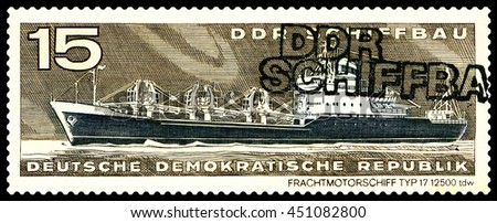 STAVROPOL, RUSSIA - JULY 06, 2016: a stamp printed by  Germany, shows  Freighter, type 17,  circa 1971 - stock photo