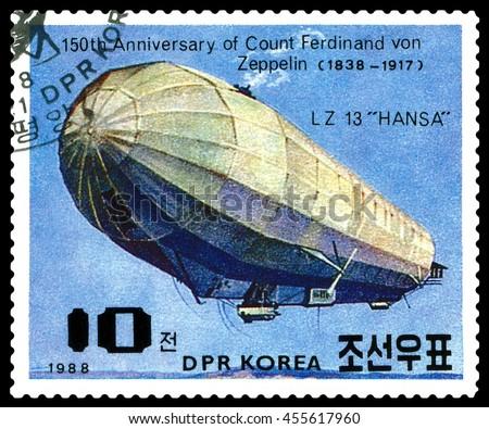 STAVROPOL, RUSSIA - JULY 19, 2016:  a stamp printed in  DPR Korea  shows  Airship LZ-13 Hansa, Ferdinand Von Zeppelin, series, cirka 1988 - stock photo