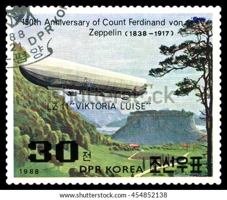 STAVROPOL, RUSSIA - JULY 19, 2016:  a stamp printed in  DPR Korea  shows  Airship LZ-11 Viktoria Luise, Ferdinand Von Zeppelin, series, cirka 1988 - stock photo