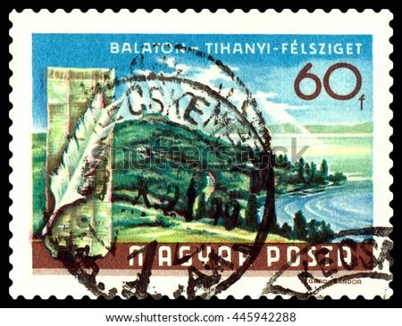 STAVROPOL, RUSSIA - JUNE 28, 2016: a stamp printed by Hungary, shows  Balaton Lake Resorts , Tihanyi Peninsula, circa 1968. - stock photo