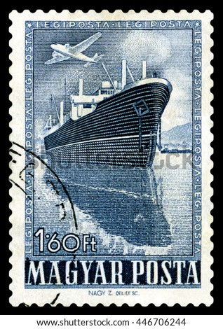STAVROPOL, RUSSIA - JUNE 28, 2016: a stamp printed by Hungary, shows  Steamship,  circa 1950 - stock photo