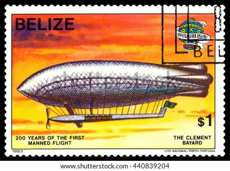 STAVROPOL, RUSSIA - JUNE 20, 2016: a stamp printed in Belize, shows an  Dirigible Clement Bayard, 200 years of manned flight, cirka 1983 - stock photo
