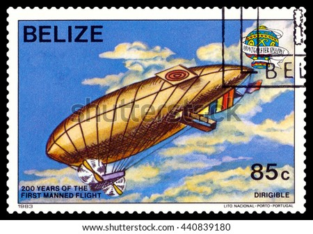 STAVROPOL, RUSSIA - JUNE 20, 2016: a stamp printed in Belize, shows an  Dirigible, 200 years of manned flight, cirka 1983 - stock photo