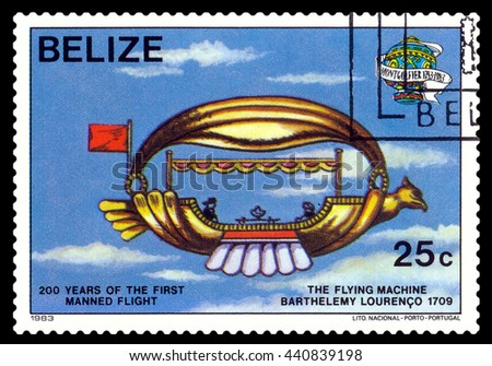 STAVROPOL, RUSSIA - JUNE 20, 2016: a stamp printed in Belize, shows an  Flying machine 1709, 200 years of manned flight, cirka 1983 - stock photo