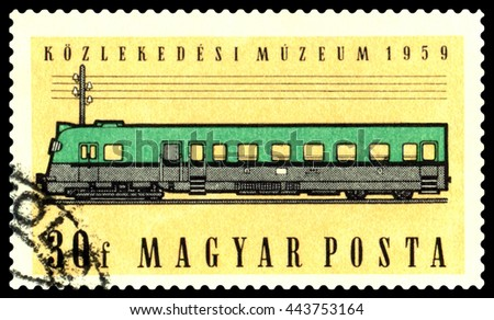 STAVROPOL, RUSSIA - June 03, 2016: A Stamp printed in Hungary shows Diesel coach,  circa 1959 - stock photo