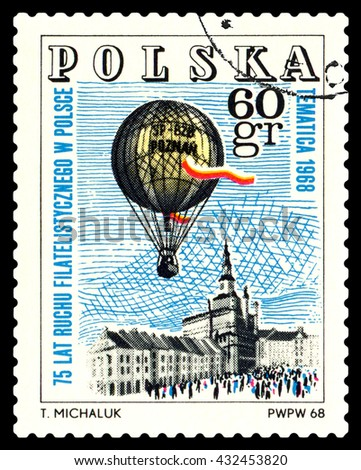 STAVROPOL, RUSSIA - MAY 25, 2016: a stamp printed in Poland  shows  Emblem, Philatelic Exhibition, Poznan 1968, circa 1968 - stock photo