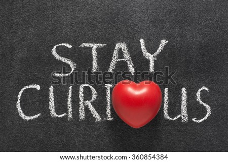 stay curious phrase handwritten on blackboard with heart symbol instead of O   - stock photo