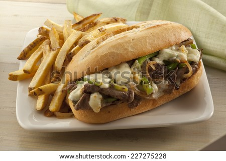 Steak and cheese sandwich - stock photo