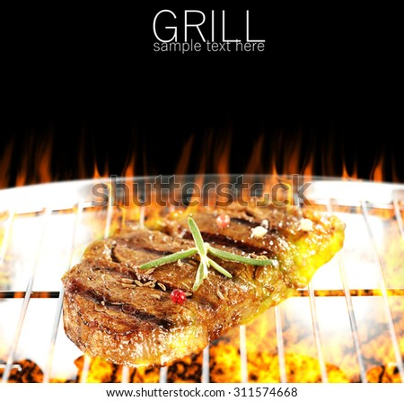 steak and grill  - stock photo