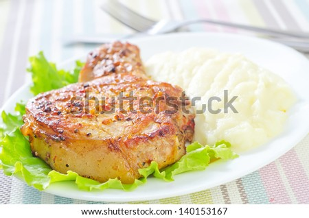 steak and mashed potato