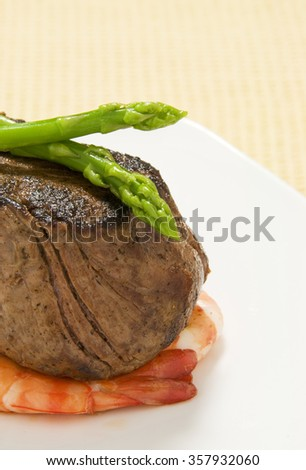 Steak, Asparagus and Prawns, Isolated - stock photo