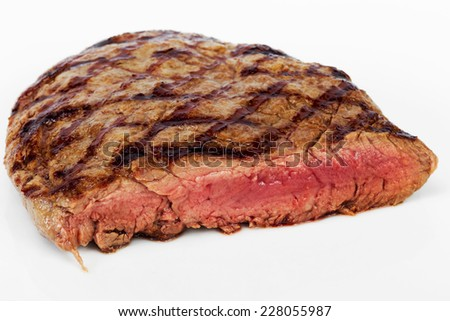 Steak Beef with blood on a white background, selective focus
