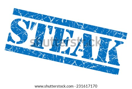 Steak blue square grunge textured isolated stamp - stock photo