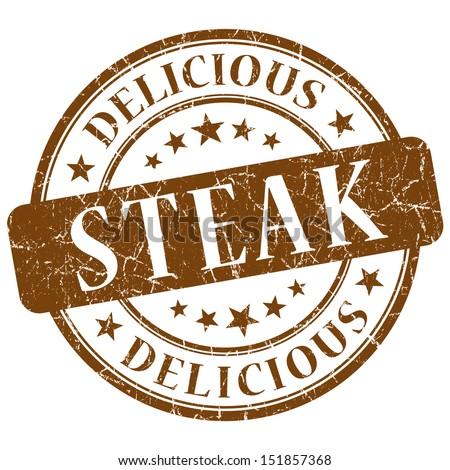 steak brown stamp - stock photo
