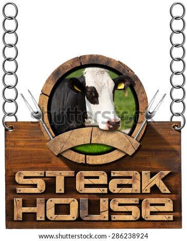 Steak House - Sign with Chain / Wooden sign with text Steak House, round symbol with head of cow, forks and empty ribbon. Hanging from a metal chain and isolated on white - stock photo