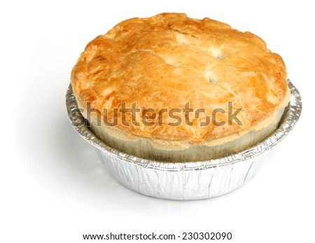 Steak meat pie in foil tray. - stock photo