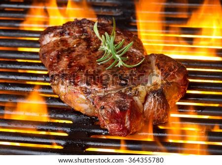 steak on flame - stock photo
