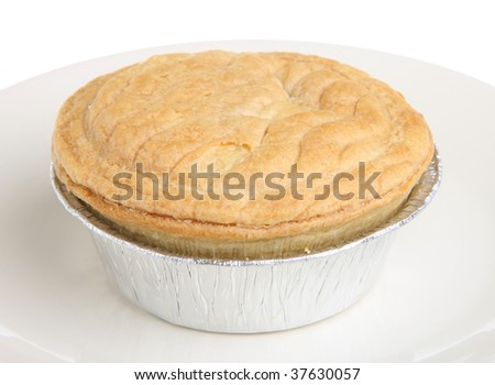 Steak pie in a foil tray - stock photo