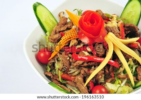 steak salad - stock photo