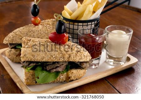 Steak Sandwich - stock photo